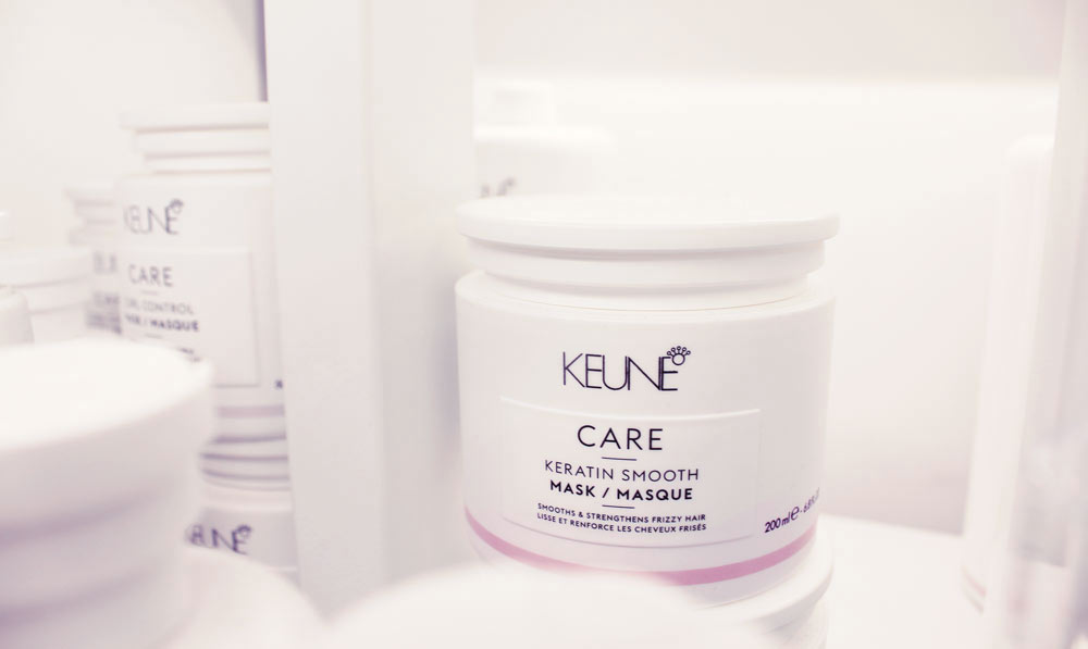 A pot of Keune hair treatment